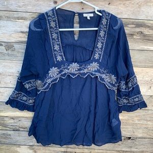 Joie | Silk Boho Peasant Embroidered Blouse Small